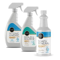 Granite, marble, travertine shower & bathroom cleaning kit - for cleaning mold, mildew, hard water, soap scum and counte
