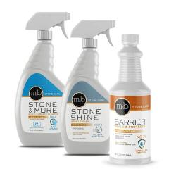 Marble & Granite Countertop Sealing, Cleaning, and Polishing Kit bottles